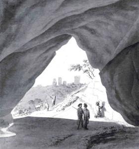 Johans Kristofs Broce. Labais vīrs, [Gūtmaņa] ala pie Turaidas. 1794. Papīrs, tušas mazgājums. Iespējams, pārzīmēts pēc K. G. Grasa oriģināla.