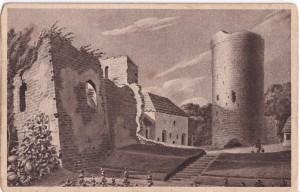 Turaidas pilsdrupu pagalms – skats no dienvidiem. Zīmējis K.J.E. Ungerns-Šternbergs 1810. gadā; vēlāk reprodukcija uz pastkartes.
