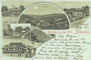 """Reklāmas pastkarte """"Sveiciens no Vidzemes Šveices"""".Pastkarti izdevis M.Buclers Kārtužos (Schöneck), pats izmantojis korespondencei 1900.gadā. (Labajā, apakšējā stūrī viņa paraksts)."""