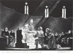 "Aleksandra Stankeviča grafika ""Kaupo Romā pie pāvesta Innocenta III"". 1995"