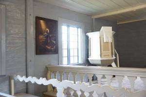 """""""Jēzus Ģetzemanes dārzā"""" ir daļa no Turaidas baznīcas interjera ekspozīcijas. 2021"""
