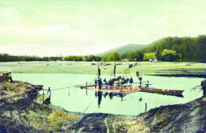 Picture. Ferry over the Gauja River from Krimulda side. Postcard, early 20th century