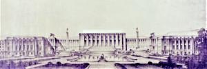 Tautu Savienības galvenā rezidence – Tautu/Nāciju pils Ženēvā. Fasādes projekta galīgais variants, zīmējums. Arhitekti Anrī Pols Neno (Nenot) – arhitektu grupas vadītājs, Žiljēns Flēgenhaimers (Flegenheimer), Karlo Brodži (Broggi), Kamils Lefevrs (Lefèvre) un Žozefs Vago (Vago). Darbs pie pils celtniecības ilga no 1929. līdz 1938. gadam, un tajā laikā tā bija lielākā celtne Eiropā. Grandiozajai celtnei vajadzēja simbolizēt miera idejas visspēcību.