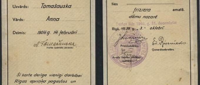 Amatnieka-kartei-dāmu-friziera-amata-veikšanai-Tomašauskai-Annai-izsniegta-1939.-gadā-SM-5256